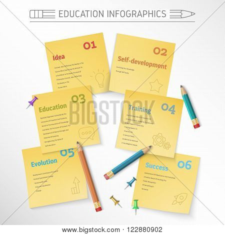Infographics educational, teaching idea for infographics, information sticker to study illustration with the image of objects for writing, clerical sticker, clerical button, push pin.