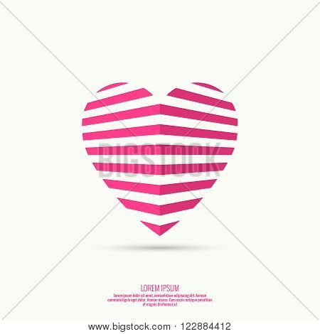 Vector icons in the form of hearts from  strips. logo. Pink. 3d