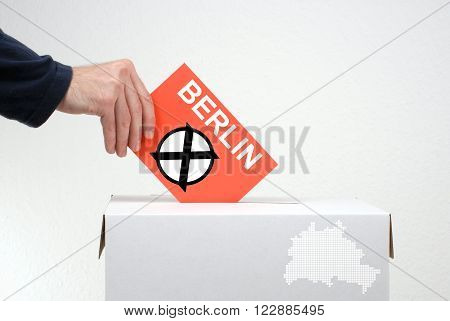 Elections in Berlin - Ballot Box and red envelope
