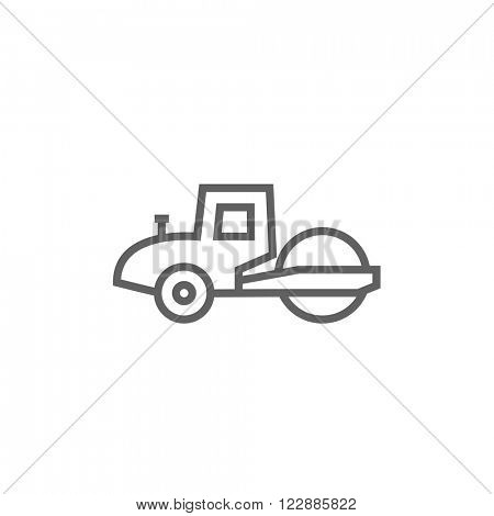 Road roller line icon.