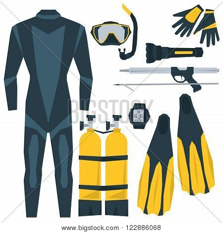 Vector icons set of diving. Equipment for diving aqualung, oxygen cylinders, depth gauge, flashlight, snorkel and mask, flippers, gloves, speargun. Flat style. Isolated on white for your design