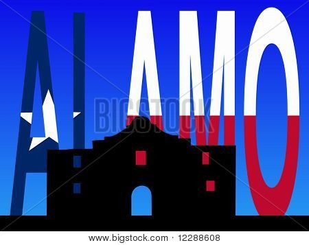 The Alamo San Antonio with Texan flag illustration