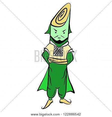 Drawing lettuce Mr. leek in national costume vector illustration