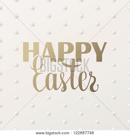 Happy Easter golden lettering greeting card. Easter minimal printable journaling card, creative card, art print, minimal label design for banner, poster, flyer.
