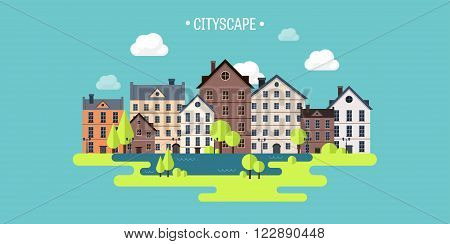 Vector illustration. Spring, summer. City silhouettes. Cityscape. Town skyline. Panorama. Midtown houses.