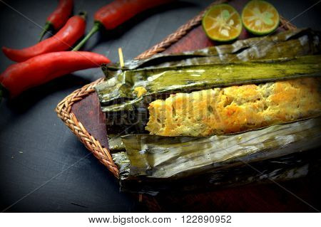 ikan pepes indonesian cuisine steamed and grill fish wrapped in banana leaves