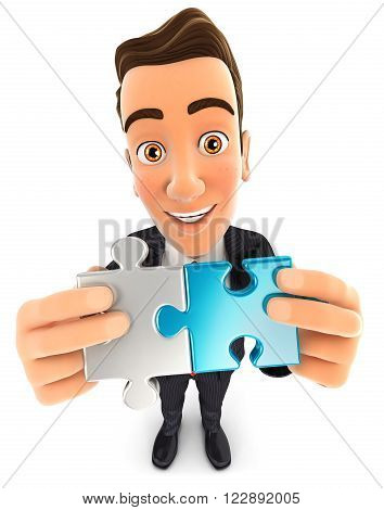 3d businessman connecting two pieces of puzzle isolated white background