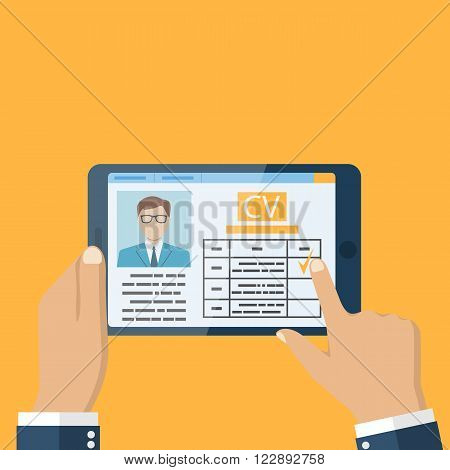 Employer on the tablet looking at resume. Job interview concept. Businessman estimates cv. Vector illustration in flat design. Human resources.