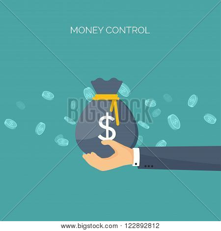 Vector illustration. Flat background with, money bag. Money making. Bank deposit.  Financials.