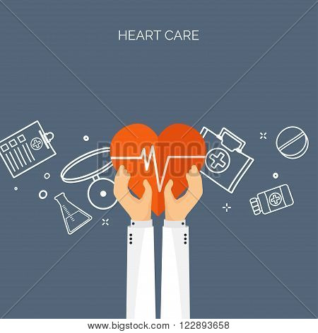 Vector illustration. Hands with heart. Flat medical background. Health care , first aid, research , cardiology. Medicine , study. Chemical engineering , pharmacy.