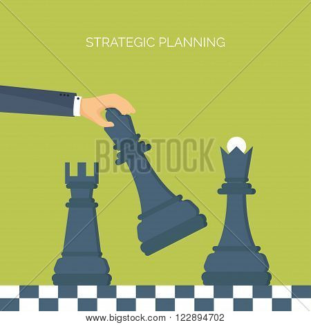 ector illustration. Flat header. Chess. Management, achievements. Smart solutions, business aims. Generating ideas. Business planning, strategy