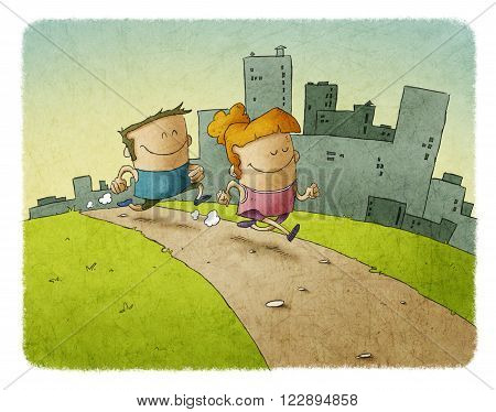 Couple of woman and man running and smiling together against of city buildings