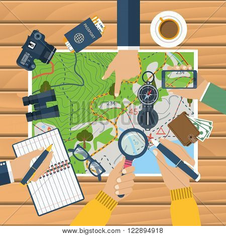 Team of people at the table planning a tourist trip plan. Holiday planning. Vector illustration of a flat design style.