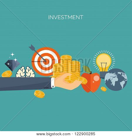 ector illustration. Flat header.  Target, coins . Management, achievements. Smart solutions, business aims. Generating ideas. Business planning, strategy