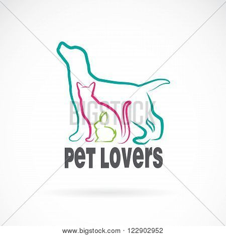 Vector group of pets - Dog cat rabbit isolated on white background. Animal design