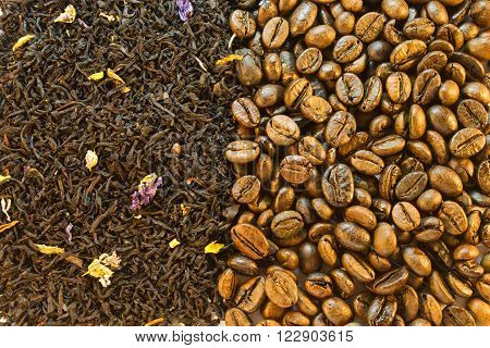 Background Of Green Tea And Coffee Beans