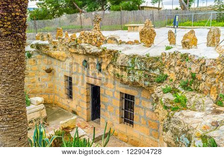 The modern entrance to the church where the angels announce the birth of Christ to the shepherds Bethlehem Palestine Israel.