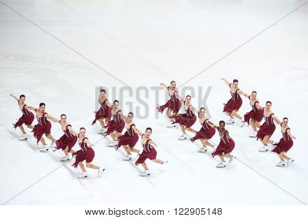 ZAGREB, CROATIA - MARCH 12 : Team USA 1 perform in the Juniors Free Skating during Day 2 of the ISU Synchronized Skating Junior World Challenge Cup at Dom Sportova on March 12, 2016 in Zagreb,Croatia.