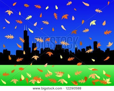 Chicago skyline in autumn with falling leaves JPG poster