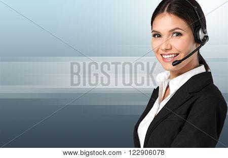 Woman call centr customer operator helpdesk agent secretary attractive poster