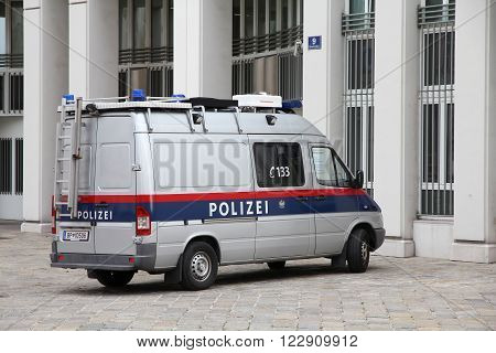 Vienna Austria - September 7 2011: Austrian Federal Police Van In Vienna. In 2005 Two Major Police F
