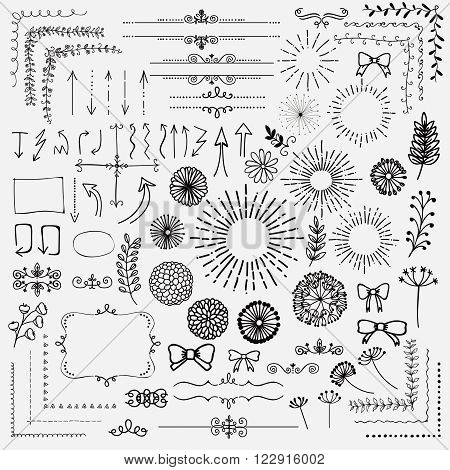 Decorative Black Hand Sketched Rustic Floral Doodle Corners, Sunburst, Branches, Frames, Arrows, Text Frames, Dividers, Flowers, Dandelions, Design Elements. Hand Drawing Vector Illustration.