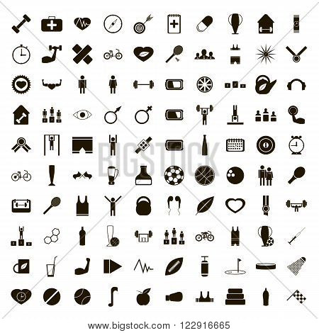 100 sport icons set use for any design