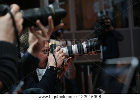 Photographer attend the award winners press conference of the 66th Berlinale Film Festival on February 20, 2016 in Berlin, Germany.