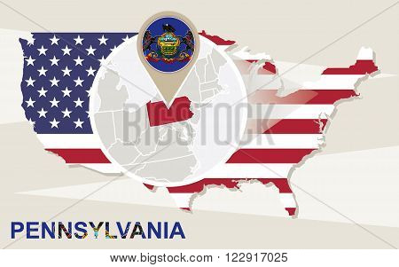 Usa Map With Magnified Pennsylvania State. Pennsylvania Flag And Map.
