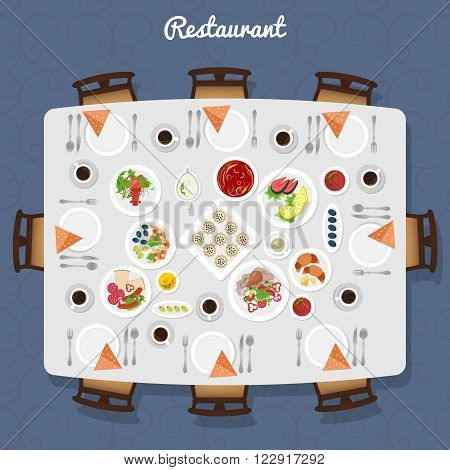 Restaurant Table poster with different meals and free places around top view vector illustration