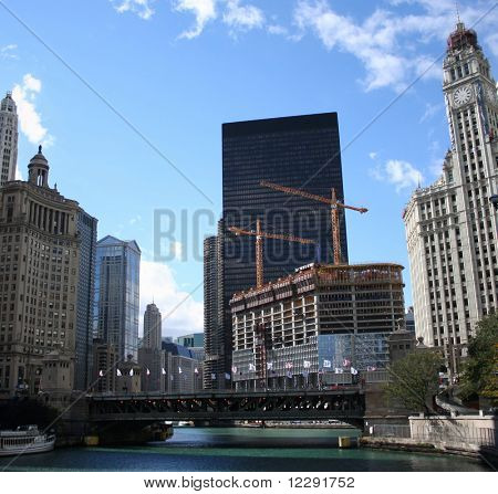 Michigan Avenue bridge and Wrigley building Chicago