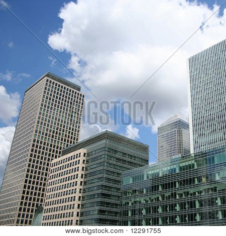 modern skyline of London Docklands England