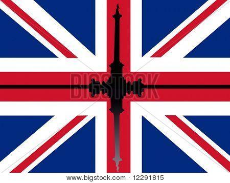 Nelson's Column Trafalgar Square reflected against British flag
