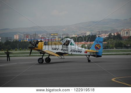 ANKARA-TURKEY-MAY 6 : Firefighter aircraft Dromader PZL M18 at the apron of the Turkish Air Association-THK's Etimesgut Airport during the air fest. May 6, 2012-Ankara/Turkey