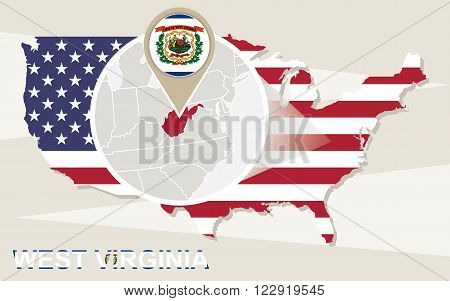 Usa Map With Magnified West Virginia State. West Virginia Flag And Map.