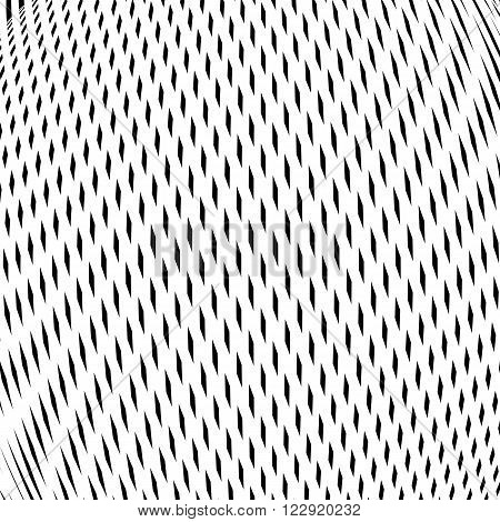 Illusive background with black chaotic lines moire style. Contrast vector geometric trance pattern optical backdrop.