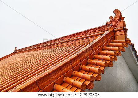 Classical Chinese tile on the roof of buddhist temple