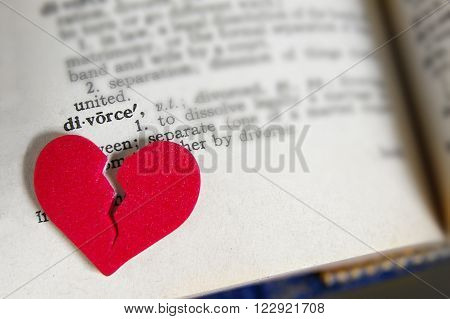 red broken heart on dictionary divorce definition