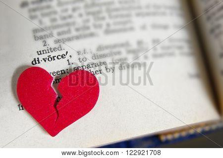 red broken heart on dictionary divorce definition