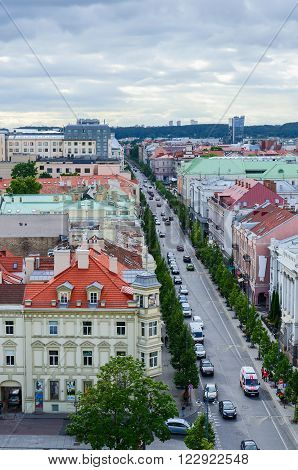 VILNIUS LITHUANIA - JULY 10 2015: The view from the observation deck of the bell tower of the Cathedral of St. Stanislaus and St. Vladislav on the Old Town in Vilnius