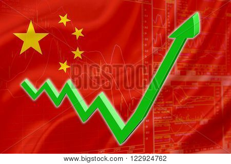 Flag of China with a chart of financial instruments for stock market analysis and a green uptrend arrow indicates the stock market enter booming period.