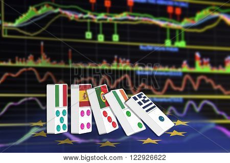 Five dominoes of EU countries that seem to have financial problem stand upright in front of the display of financial instruments with various type of indicators for stock market technical analysis.