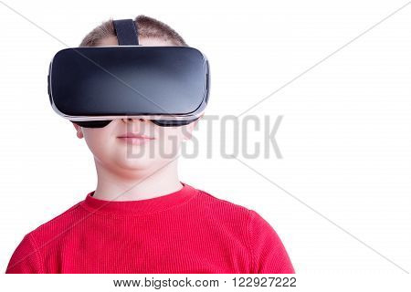 Child With Virtual Reality Headset Looking Ahead