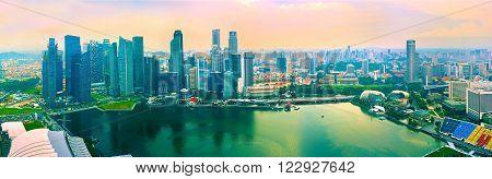 Colorful Panorama Of Singapore