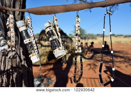 Handmade bijouterie in bushmens village. The San people also known as Bushmen are members of various indigenous hunter-gatherer peoples of Southern Africa