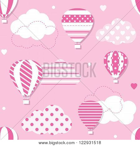 illustration of hot air balloons collection with patterned clouds, hearts and dots on pink background