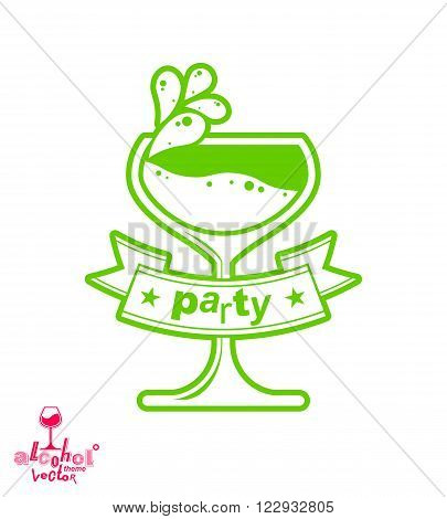 Simple Vector Cocktail Glass With Splash, Alcohol Idea Graphic Illustration. Stylized Artistic Goble