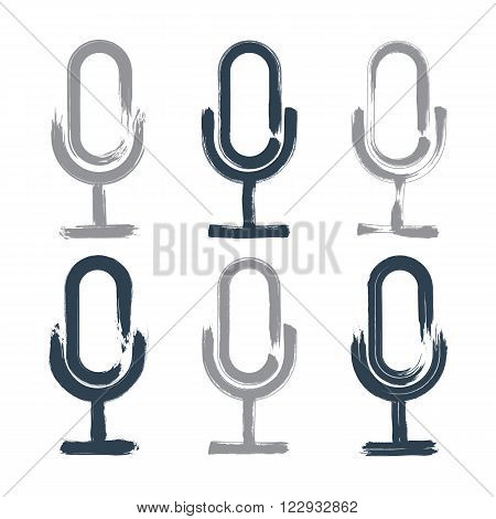 Set of hand-drawn microphone icons brush drawing multimedia signs collection of original hand-painted on air signs isolated on white background.