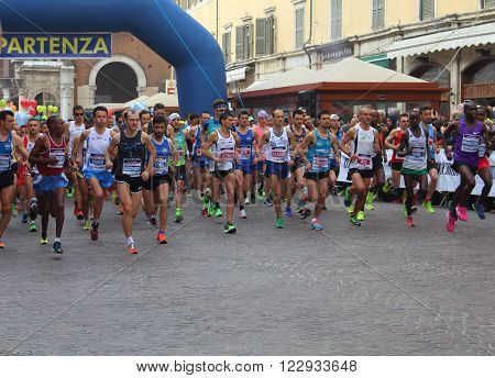 Ferrara, Italy - 20 march 2016 - INTERNATIONAL FERRARA MARATHON - The event sees the participation, only in the two competitive races (Marathon and Half Marathon) to almost 2,000 athletes, on average they are accompanied by at least one person.
