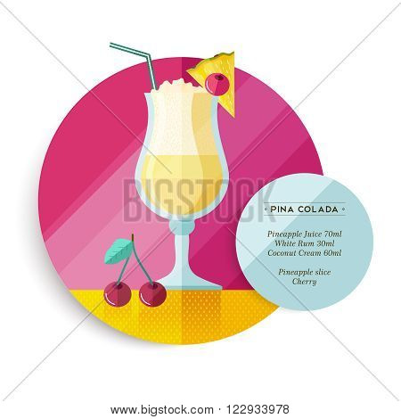 Pina colada cocktail drink recipe for party or summer vacation with ingredients text and colorful flat art fruit illustration. EPS10 vector.